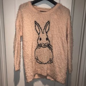 Sweaters - Baby Pink Fluffy Sweater w/ Bunny 🐰